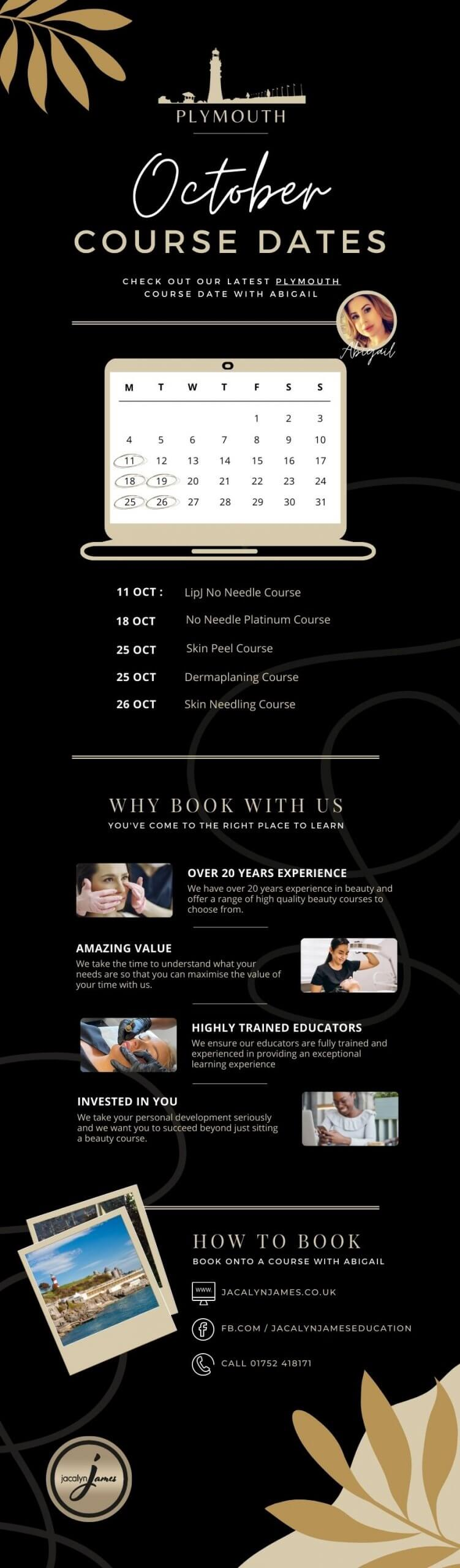 October Beauty Course Dates in Plymouth